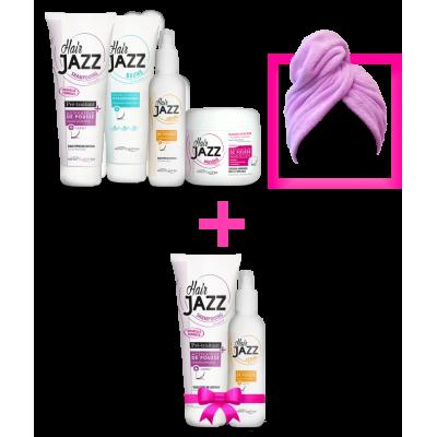 Joululahja! HAIR JAZZ  shampoo ja lotion, mask,  hoitoaine, turbaani + LAHJA (shampoo ja lotion)!